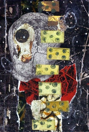 Moon Cow - Mixed Media Collage (on board) - 2015