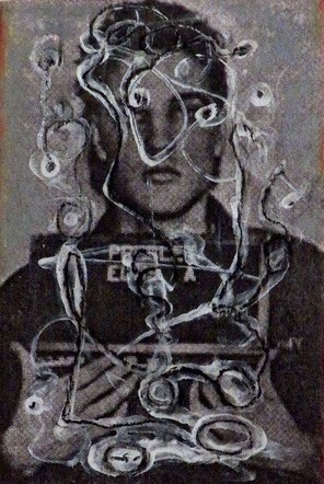 Tagged Elvis - Mixed Media Collage (on wood) - 2014