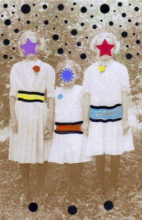 Three Graces - Mixed Media Collage (altered postcard) - 2012