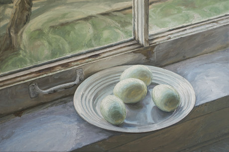 Four Eggs on Window Sill