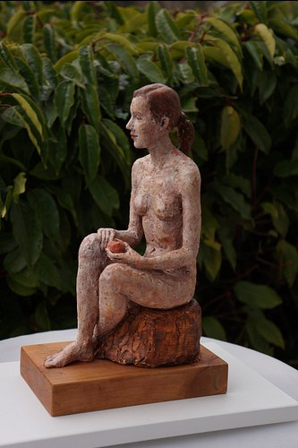 Girl with a red apple | terracotta