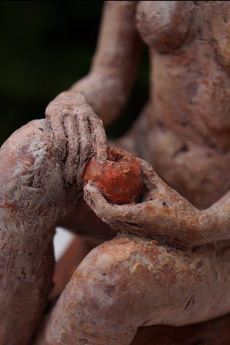 Girl with a red apple | detail | terracotta
