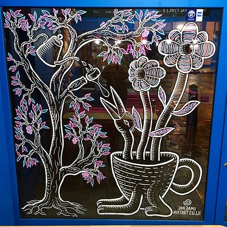 Window mural for Coffee Addict, London.