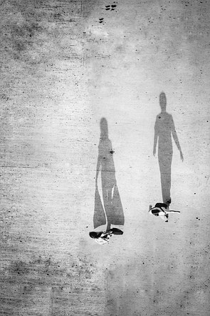 Following their shadows.