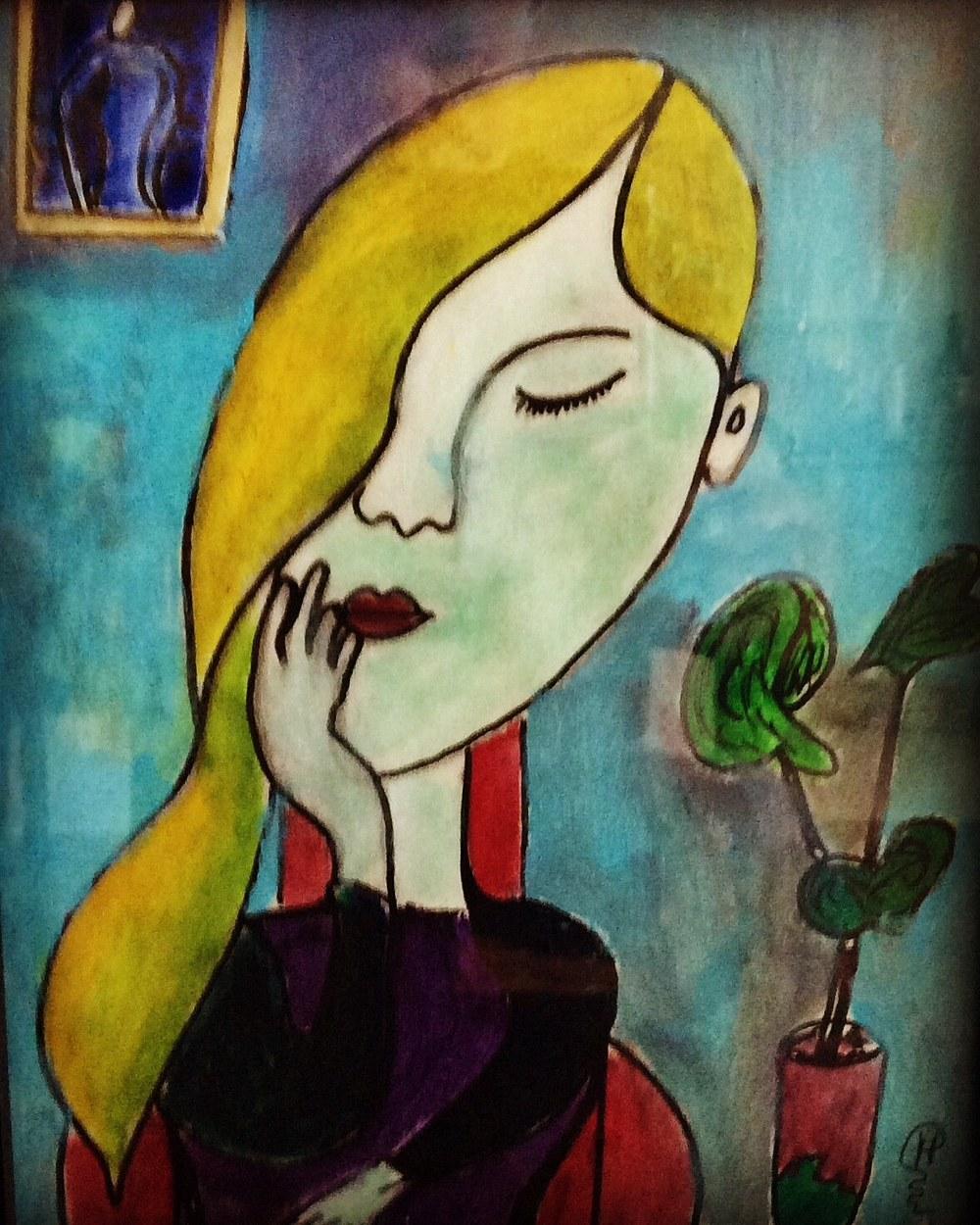 A thinking lady